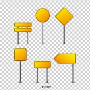 Yellow Road  Sign Board Warning Vector