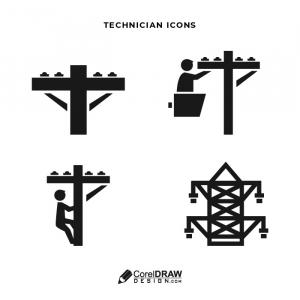 Abstract technician lineman Icon Vector