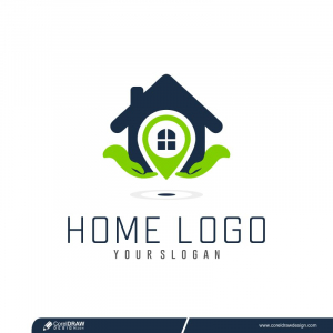 Logo With Hand And House Free Vector