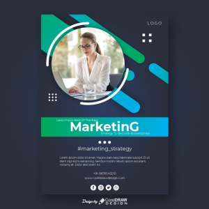 Marketing Strategies Benefit CDR Poster Flyer Template Download From Coreldrawdesign