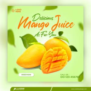 Mango Drink Menu Banner Template Restaurant Promotion Premium Vector