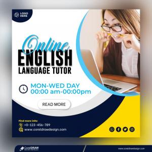 Online English Spoken Social Media Post Template Free Vector
