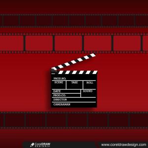Black movie production clapper board over dark background template