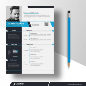 Clean & Minimal Resume Or Cv Design Template Free Vector