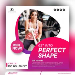 Fitness Social Media Post Banner Template Premium Vector