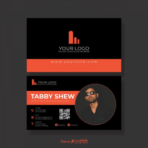 Black Elegant CDR Business Card Free Template Download From Coreldrawdesign