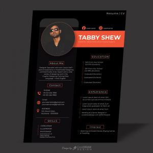 Black Elegant Resume CV Download From Coreldrawdesign