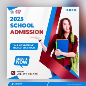 School Promotion Design Banner Template Free Vector