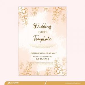 Golden Flower Wedding Invitation Premium Template