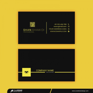 Creative Modern Business Card Template With Black And Yellow Details Premium Vector
