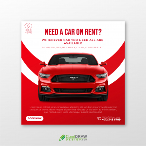Abstract Red Car rental informational banner