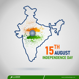 Map Of India With Flag For Independence Day Free Vector