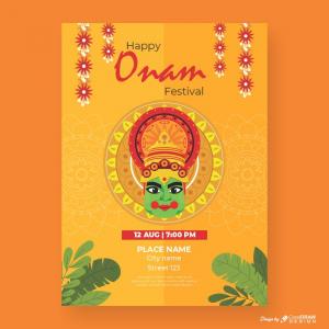 Happy Onam Festival Orange Theme Download From Coreldrawdesign