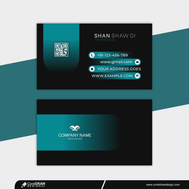 Blue Business Card Modern Design Free Vector