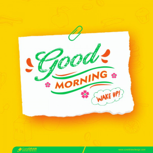 Good Morning Torn Paper Style With Pin Free Vector