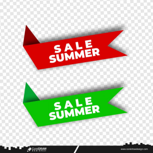 Summer Sale Red & Green Vector Banner Ribbon Background Free Vector