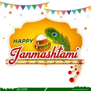 Traditional Happy Janmashtami Indian Festival Banner Design Vector Free Vector