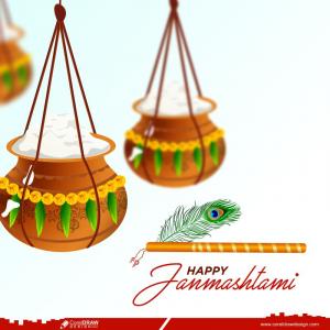 Happy Janmashtami Indian Festival Elegant Greeting Card Free Vector