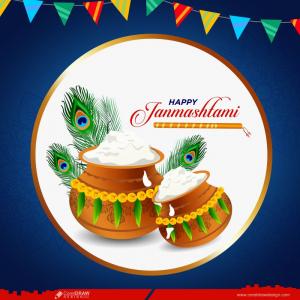 Religious Indian Happy Janmashtami Festival Classic Background Vector Premium Vector