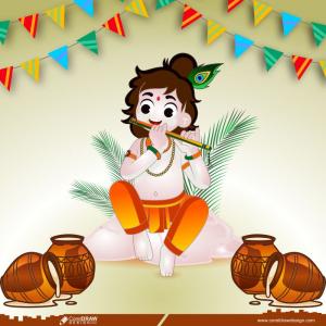 Janmashtami shri krishna for Happiness Festival Background Premium Vector