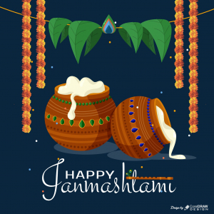 Happy Janmashtami Moonlight Butter Download Free CDR File From Coreldrawdesign