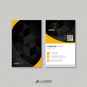 Professional Creative Yellow Vertical Business Card Vector Template