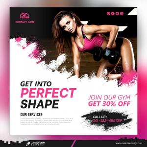 Fitness Instagram Gym Social Media Post Template Premium Vector