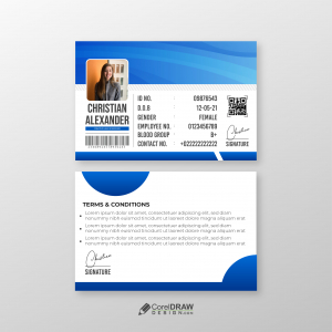 Abstract Professional Blue Company Id Card Template