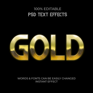 Ultimate Gold Editable Text Effect, Free Psd File