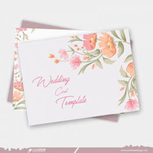 Wedding Card & Envelope Design Template With Floral Design Free Vector