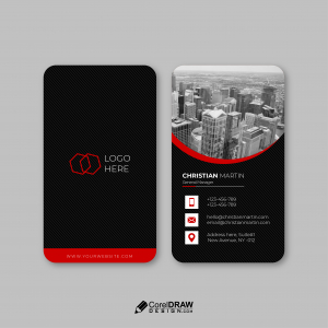 Corporate trendy Vertical Professional red Business Card