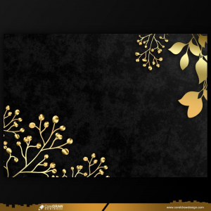 Wedding Card Background Template With Golden Floral Design Free Vector