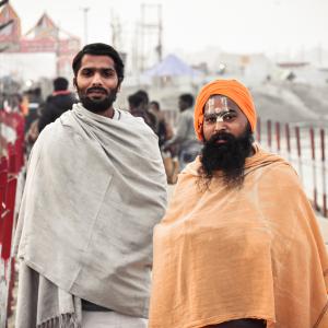 Holy Hindu Worshippers On the Sangam Ghat In Kumbh Fair