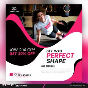 Fitness Gym Social Media Post Template Premium Vector