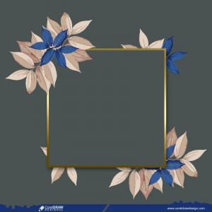 Empty Floral Golden Frame Design Free
