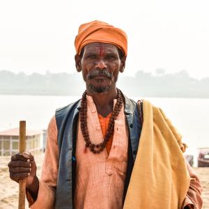 Holy Priest Beside the holy river ganga