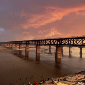 Beautiful Sunset Scenery Landscape Of Lord Curzon Bridge In Prayagraj