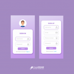 Beautiful Trendy Gradient Log in and sign up ui Vector