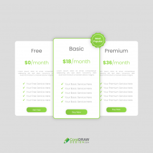 Abstract Green Pricing Website Packages UI Vector