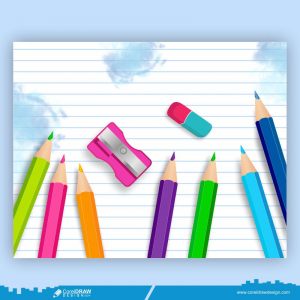 Back To School Colorful Pencil Handdrawn Sharpener Rubber Free Vector