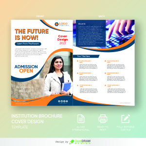 Institution Brochure Cover Design Template, Free CDR