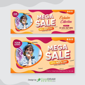 Modern Sales Banner template Free vector, CDR