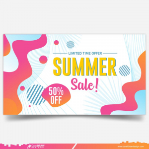 Summer Season Sale Fifty Percent Off Lettering Free Vector