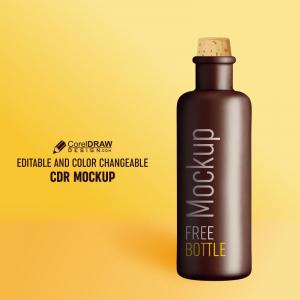 Brown Bottle Mockup Design Free Premium Vector