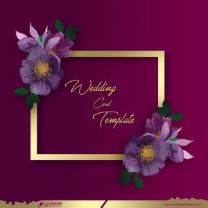 Flower Wedding Card Template With Space For Text Free Vector
