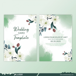 Beautiful Hand Drawing Wedding Invitation Card Floral Design Free Vector