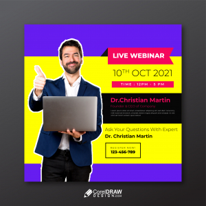 Abstract Colorful Live Webinar Social Media Banner Template