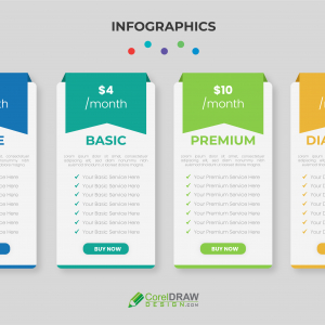 Abstract Colorful Corporate Professional Pricing Table Vector Template