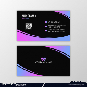 White & Red Business Card With Details Premium Vector