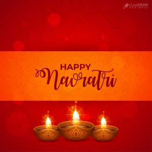 Beautiful Diya And Ethic Colorful Navratri Vector Background